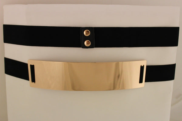 Light Brown (Mocha) / Dark Navy / Royal Blue / Gold Yellow / Black /Red / White Elastic Stretch Back High Waist Hip Belt Gold Metal Mirror Plate New Women Fashion Accessories Plus Size - alwaystyle4you - 41