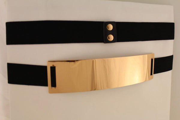 Light Brown (Mocha) / Dark Navy / Royal Blue / Gold Yellow / Black /Red / White Elastic Stretch Back High Waist Hip Belt Gold Metal Mirror Plate New Women Fashion Accessories Plus Size - alwaystyle4you - 43