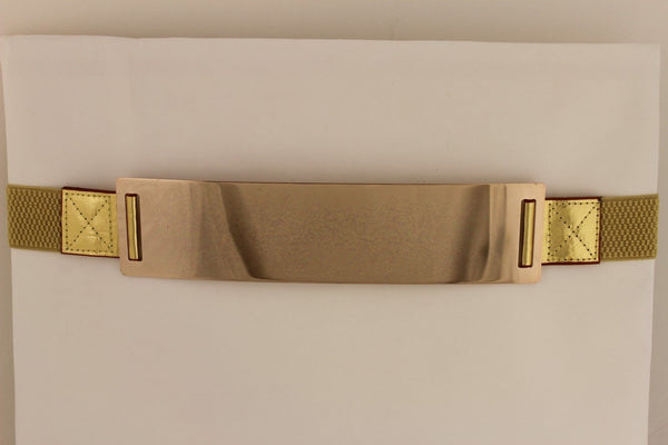 Light Brown (Mocha) / Dark Navy / Royal Blue / Gold Yellow / Black /Red / White Elastic Stretch Back High Waist Hip Belt Gold Metal Mirror Plate New Women Fashion Accessories Plus Size - alwaystyle4you - 38
