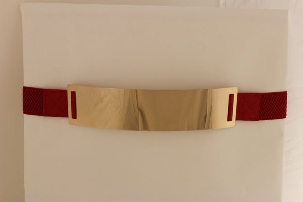 Light Brown (Mocha) / Dark Navy / Royal Blue / Gold Yellow / Black /Red / White Elastic Stretch Back High Waist Hip Belt Gold Metal Mirror Plate New Women Fashion Accessories Plus Size - alwaystyle4you - 56