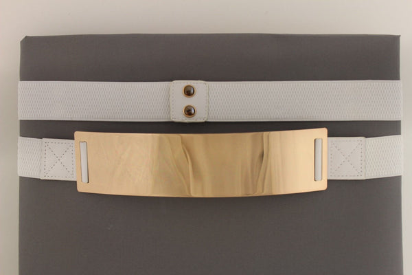 Light Brown (Mocha) / Dark Navy / Royal Blue / Gold Yellow / Black /Red / White Elastic Stretch Back High Waist Hip Belt Gold Metal Mirror Plate New Women Fashion Accessories Plus Size - alwaystyle4you - 67