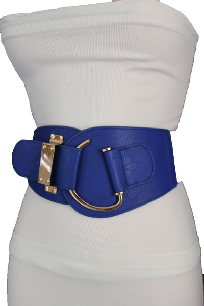 Blue Navy Blue Red White Pink Green Turquize Black Brown Dark Brown Beige Gold Faux Leather Hip Waist Elastic Belt Big Gold Hook Buckle New Women Fashion Accessories Plus Size - alwaystyle4you - 60