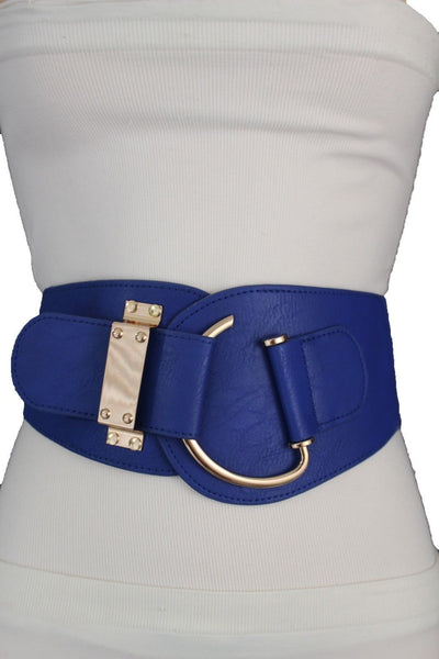 Blue Navy Blue Red White Pink Green Turquize Black Brown Dark Brown Beige Gold Faux Leather Hip Waist Elastic Belt Big Gold Hook Buckle New Women Fashion Accessories Plus Size - alwaystyle4you - 55