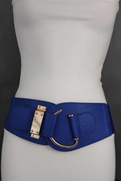 Blue Navy Blue Red White Pink Green Turquize Black Brown Dark Brown Beige Gold Faux Leather Hip Waist Elastic Belt Big Gold Hook Buckle New Women Fashion Accessories Plus Size - alwaystyle4you - 56