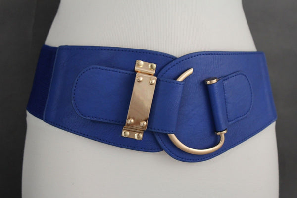 Blue Navy Blue Red White Pink Green Turquize Black Brown Dark Brown Beige Gold Faux Leather Hip Waist Elastic Belt Big Gold Hook Buckle New Women Fashion Accessories Plus Size - alwaystyle4you - 59