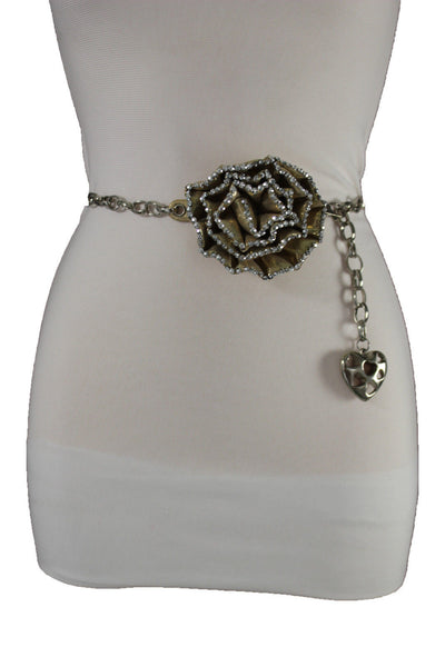 Silver Metal Chain Narrow skinny Belt Big Gold Fabric Flower Buckle Rhinestones Women Accessories S M