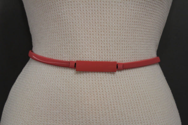 Light Green / Light Blue / Hot Pink / Teal Blue / Coral / Yellow / / Red Metal Stretch Narrow Hip High Waist Elastic Belt New Women Fashion Accessories S M L - alwaystyle4you - 51