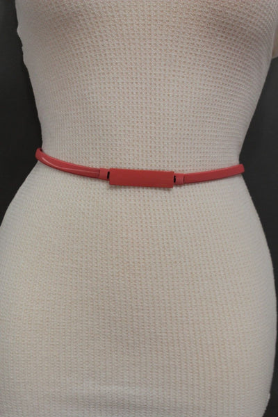 Light Green / Light Blue / Hot Pink / Teal Blue / Coral / Yellow / / Red Metal Stretch Narrow Hip High Waist Elastic Belt New Women Fashion Accessories S M L - alwaystyle4you - 52