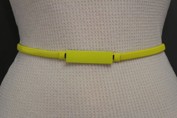Light Green / Light Blue / Hot Pink / Teal Blue / Coral / Yellow / / Red Metal Stretch Narrow Hip High Waist Elastic Belt New Women Fashion Accessories S M L - alwaystyle4you - 59