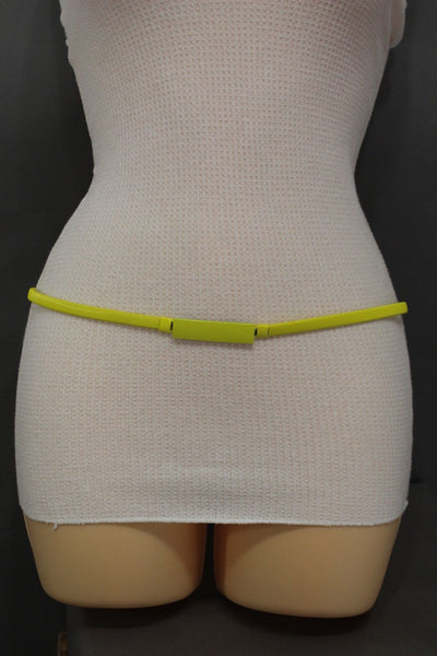 Light Green / Light Blue / Hot Pink / Teal Blue / Coral / Yellow / / Red Metal Stretch Narrow Hip High Waist Elastic Belt New Women Fashion Accessories S M L - alwaystyle4you - 62