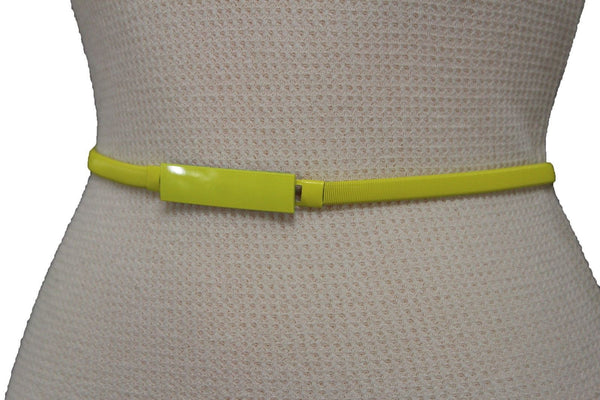 Light Green / Light Blue / Hot Pink / Teal Blue / Coral / Yellow / / Red Metal Stretch Narrow Hip High Waist Elastic Belt New Women Fashion Accessories S M L - alwaystyle4you - 5