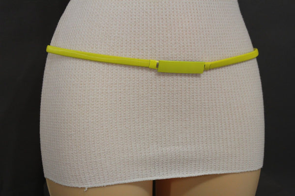 Light Green / Light Blue / Hot Pink / Teal Blue / Coral / Yellow / / Red Metal Stretch Narrow Hip High Waist Elastic Belt New Women Fashion Accessories S M L - alwaystyle4you - 64