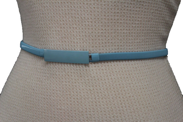 Light Green / Light Blue / Hot Pink / Teal Blue / Coral / Yellow / / Red Metal Stretch Narrow Hip High Waist Elastic Belt New Women Fashion Accessories S M L - alwaystyle4you - 73