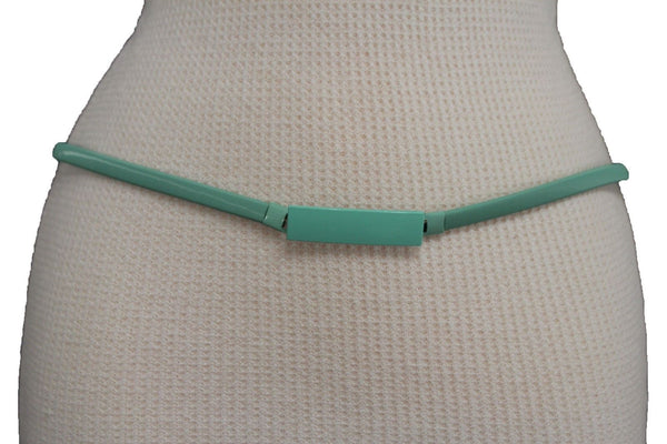 Light Green / Light Blue / Hot Pink / Teal Blue / Coral / Yellow / / Red Metal Stretch Narrow Hip High Waist Elastic Belt New Women Fashion Accessories S M L - alwaystyle4you - 23