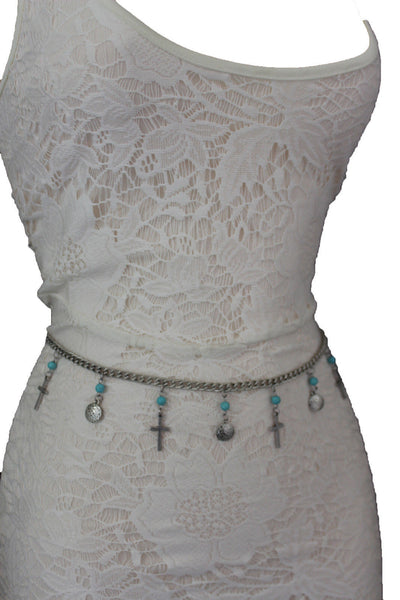 Gold / Silver Metal Chain Hip High Waist Belt Turquoise Blue Cross New Women Fashion S M L - alwaystyle4you - 12