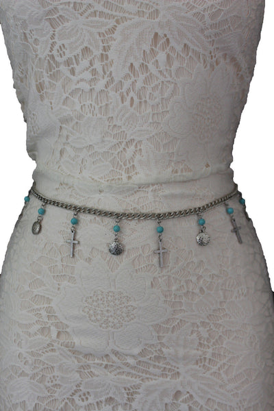Gold / Silver Metal Chain Hip High Waist Belt Turquoise Blue Cross New Women Fashion S M L - alwaystyle4you - 4