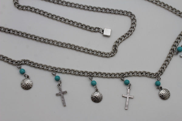 Gold / Silver Metal Chain Hip High Waist Belt Turquoise Blue Cross New Women Fashion S M L - alwaystyle4you - 5