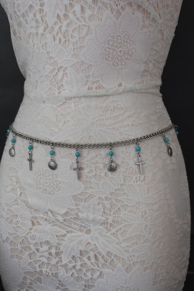 Gold / Silver Metal Chain Hip High Waist Belt Turquoise Blue Cross New Women Fashion S M L - alwaystyle4you - 7