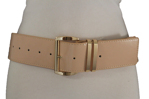 Beige Black Gold Silver Red Faux Patent Leather Hip Shiny Belt Gold Metal Big Buckle New Women Fashion Size M L XL