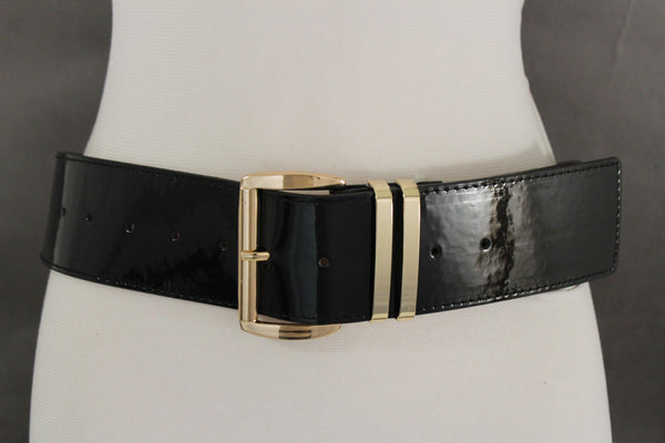 Faux Patent Leather Hip Shiny Belt Gold Metal Big Buckle New Women Fashion Accessories M XL