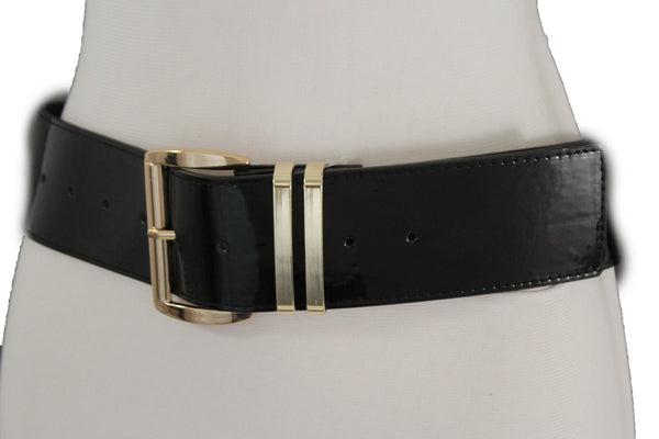 Mew Women Fashion Belt Hip Waist Shiny Black Faux Leather Silver Buckle M L XL Plus Size