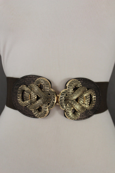 Black Elastic Hip High Waist Belt Gold Metal Plate Chain Big Gold Braided Buckle Women Accessories