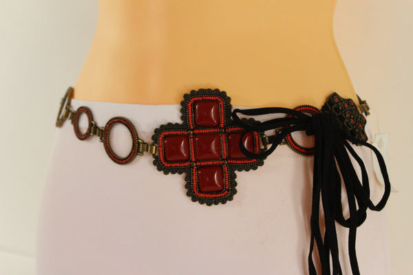 Red Tie Belt Faux Leather Hip Waist Metal Chain Flower Charm Multi Strap Buckle New Women Fashion M L