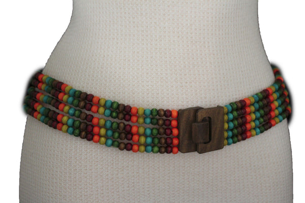 Red Blue Green Brown Beads Hip High Waist Elastic Belt Brown Wood Buckle New Women Fashion Accessories S M L - alwaystyle4you - 1
