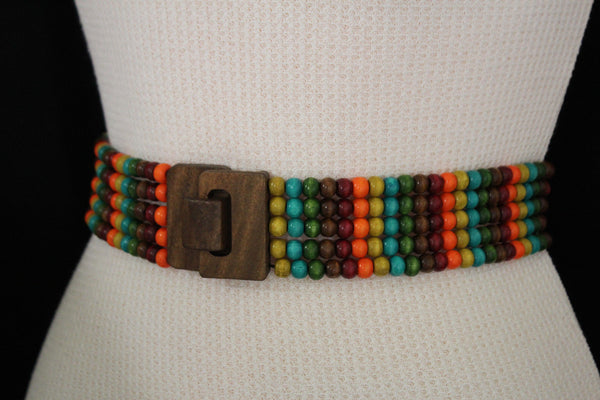 Red Blue Green Brown Beads Hip High Waist Elastic Belt Brown Wood Buckle New Women Fashion Accessories S M L - alwaystyle4you - 5
