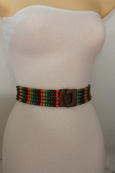 Red Blue Green Brown Beads Hip High Waist Elastic Belt Brown Wood Buckle New Women Fashion Accessories S M L - alwaystyle4you - 6