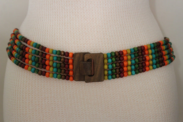 Red Blue Green Brown Beads Hip High Waist Elastic Belt Brown Wood Buckle New Women Fashion Accessories S M L - alwaystyle4you - 8
