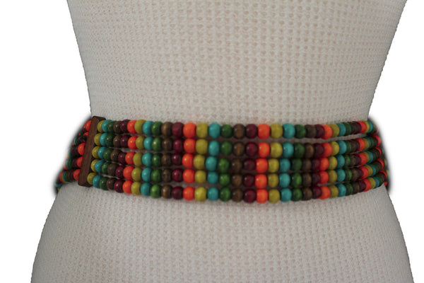 Red Blue Green Brown Beads Hip High Waist Elastic Belt Brown Wood Buckle New Women Fashion Accessories S M L - alwaystyle4you - 10