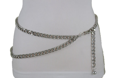 Silver Gold Black Women Belt Thick Metal Chunky Chain Link Side Wave Detail Fashion Accessories XS-XL