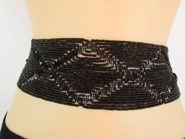 Women Fashion Belt Black Beads Wide Waistband Tie Wrap Around Waist Hip M L XL