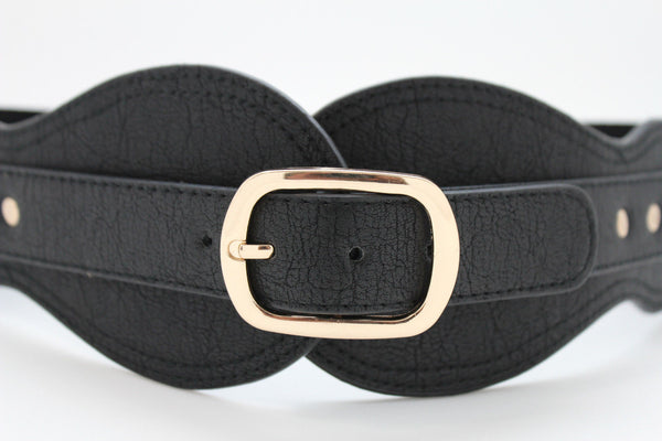 Black Hip Waist Wide Stretch Faux Leather Belt Gold Buckle New Women Fashion Accessories S M - alwaystyle4you - 2