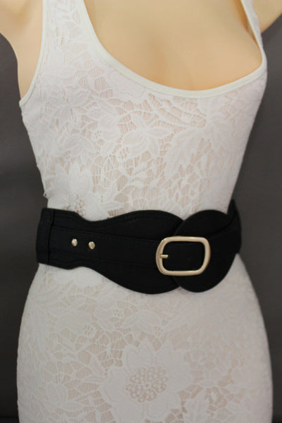 Black Hip Waist Wide Stretch Faux Leather Belt Gold Buckle New Women Fashion Accessories S M - alwaystyle4you - 7
