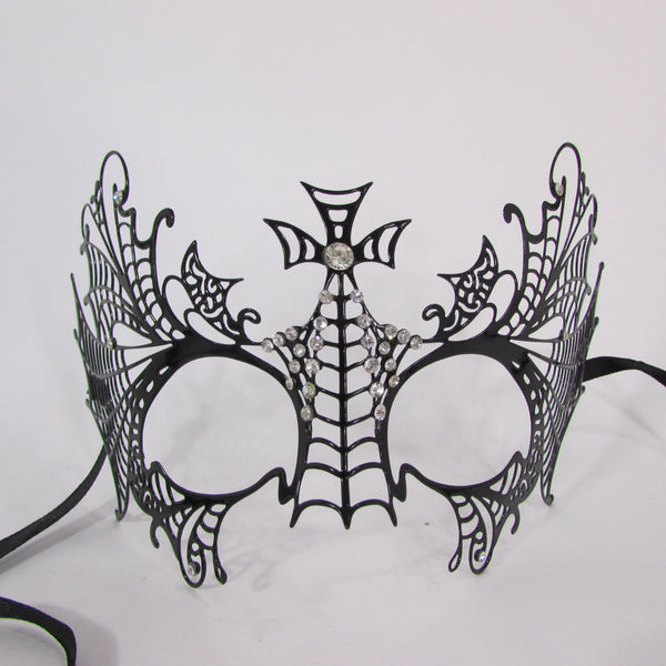 Black Metal Butterfly Wings Cross Net Silver Rhinestones Back Tie Halloween Women Accessories