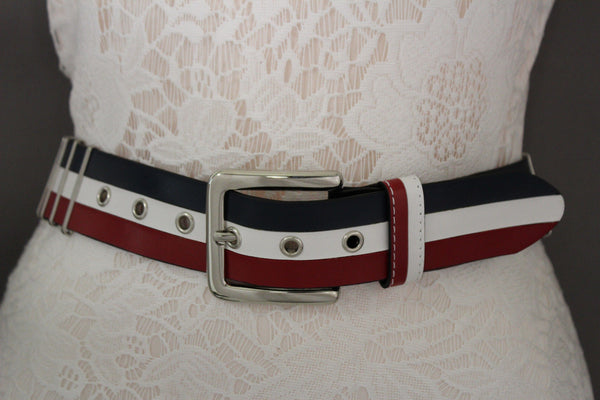 Blue Red White Faux Leather Hip Waist Belt America USA Flag New Women Fashion Accessories S M - alwaystyle4you - 4