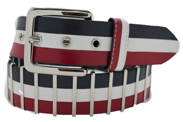 Blue Red White Faux Leather Hip Waist Belt America USA Flag New Women Fashion Accessories S M - alwaystyle4you - 5