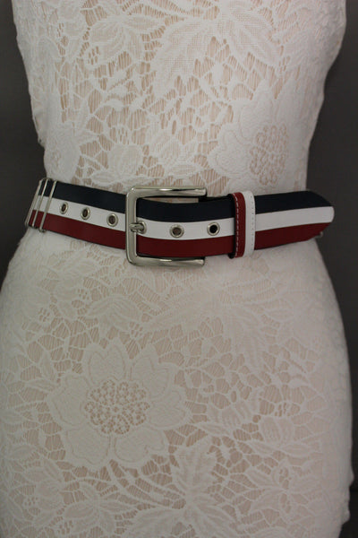 Blue Red White Faux Leather Hip Waist Belt America USA Flag New Women Fashion Accessories S M - alwaystyle4you - 6