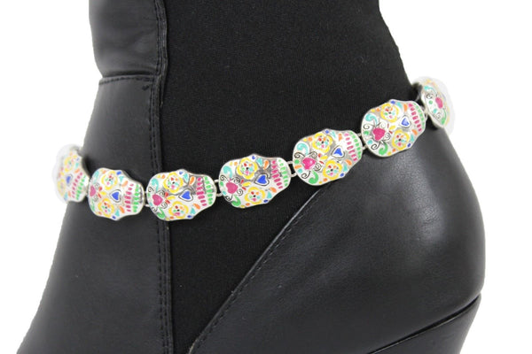 Silver Metal Chain Boot Bracelet Anklet Shoe Candy Skulls Charm Women Jewelry Accessories