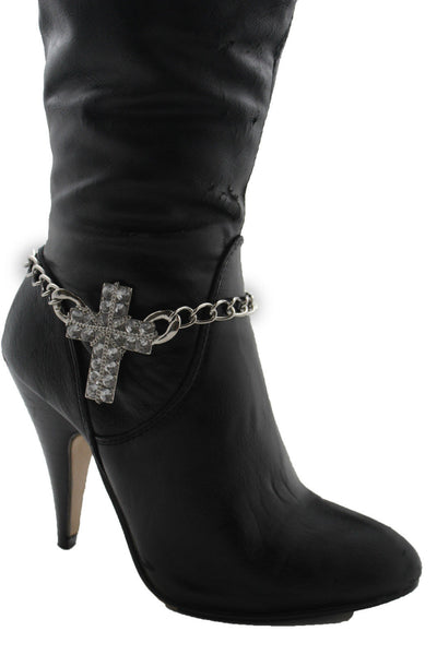 Gold Silver Boot Chain Bracelet Big Rhinestones Cross Western Shoe Accessory New Women Ffashion - alwaystyle4you - 16