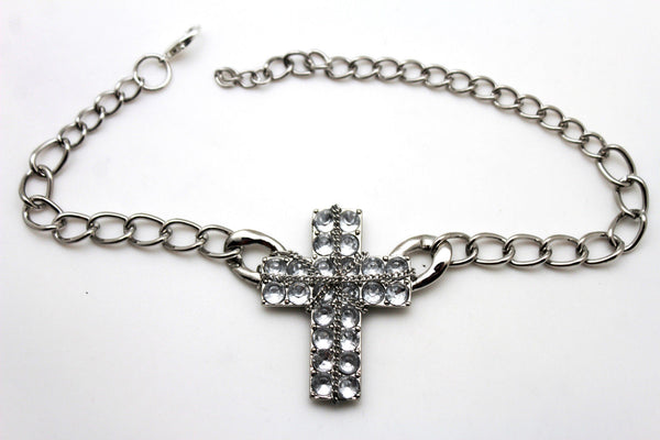Gold Silver Boot Chain Bracelet Big Rhinestones Cross Western Shoe Accessory New Women Ffashion - alwaystyle4you - 20