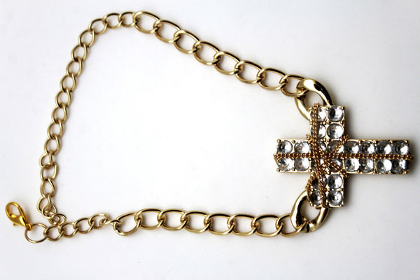 Gold Silver Boot Chain Bracelet Big Rhinestones Cross Western Shoe Accessory New Women Ffashion - alwaystyle4you - 10