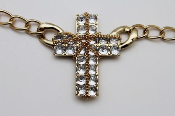 Gold Silver Boot Chain Bracelet Big Rhinestones Cross Western Shoe Accessory New Women Ffashion - alwaystyle4you - 3