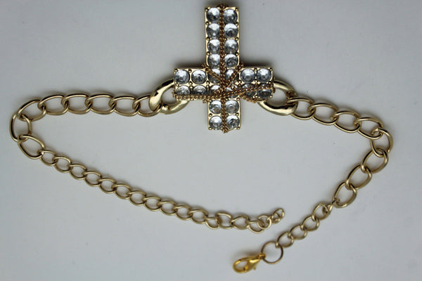 Gold Silver Boot Chain Bracelet Big Rhinestones Cross Western Shoe Accessory New Women Ffashion - alwaystyle4you - 6