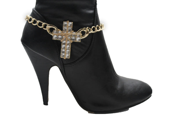 Gold Silver Boot Chain Bracelet Big Rhinestones Cross Western Shoe Accessory New Women Ffashion - alwaystyle4you - 13