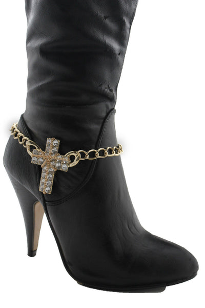 Gold Silver Boot Chain Bracelet Big Rhinestones Cross Western Shoe Accessory New Women Ffashion - alwaystyle4you - 12