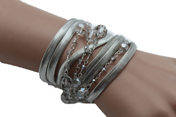 Gold Silver Metal Bracelet Mesh Chain 5 Strands Wide Wrist Beads New Women Fashion Jewelry Accessories - alwaystyle4you - 15