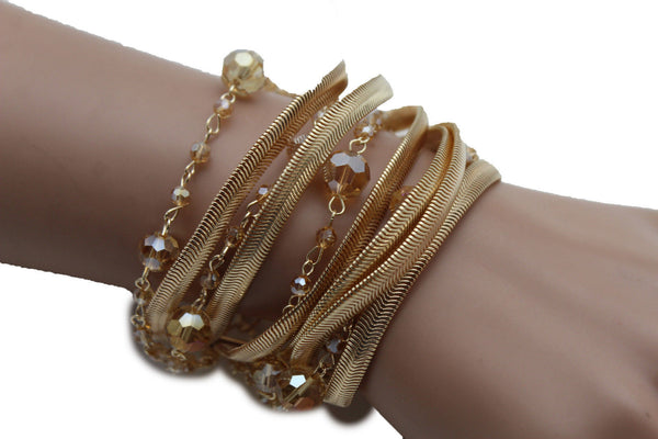 Gold Silver Metal Bracelet Mesh Chain 5 Strands Wide Wrist Beads New Women Fashion Jewelry Accessories - alwaystyle4you - 4
